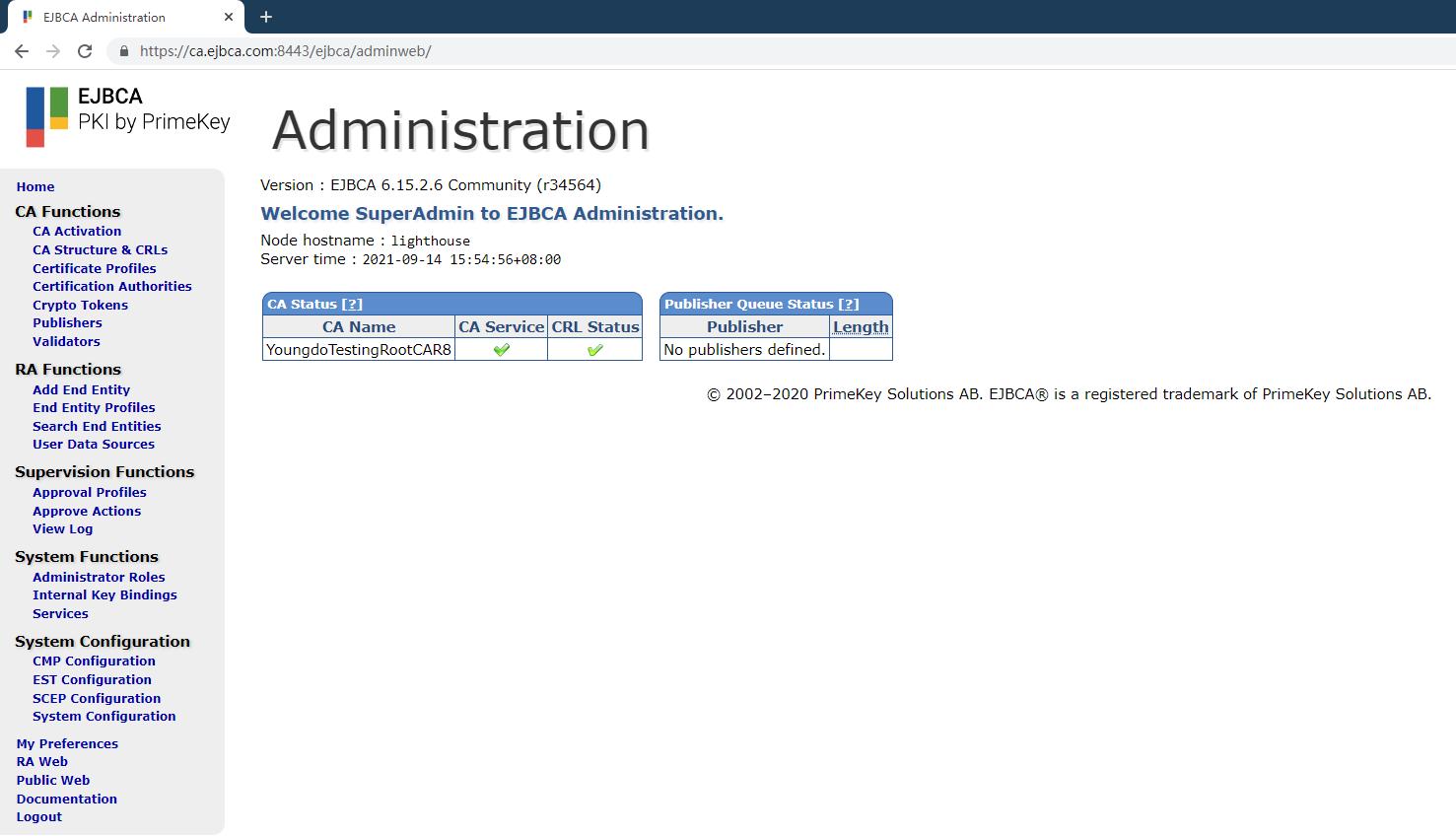 腾讯云轻量应用服务器上使用EJBCA搭建自己的CA/PKI系统